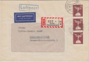 Berlin - 3x25 Pfg. Stadtbilder II Luftpost Einschreibebrief Charlottenburg 1959