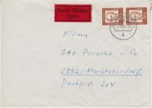 BRD - 2x50 Pfg. Bed. Deutsche Eilbrief Düsseldorf - Marktoberdorf 1965