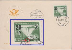 DDR - 24 Pfg. Hochwassergeschädigte Plattenfehler Schmuck-FDC Berlin 16.8.54