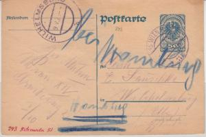 Österreich - 50 H. Ganzsache Wien - Wilhelmsburg 1921 Weiterleitung n. Hamburg