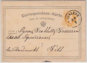 Österreich - Cavalese 10/1 (1872) K1 2 Kr. Ganzsache n. Neumarkt