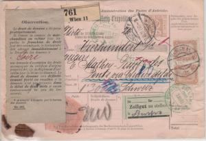 Österreich - 10 H. Ganzsache + Zusatz Wertpaketkarte i.d. SCHWEIZ Wien 1906 n.