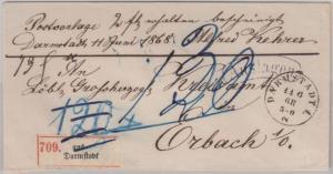NDP - Darmstadt 1868 Auslagenbrief n. Orbach - ohne Inhalt