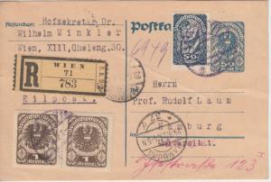 Österreich - 50 H. Ganzsache + Zusatz Einschreibekarte Wien - Hamburg 1921