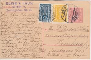 Österreich - 200 K. Ganzsache + Zusatz Wien - Hamburg 1923 - Empfänger !!