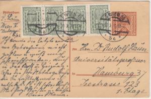 Österreich - 50 K. Ganzsache + Zusatz Wien - Hamburg 1922 - Empfänger !!