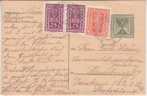 Österreich - 5 K. Ganzsache + Zusatz Offenhasuen - Hamburg 1922 - Empfänger !!