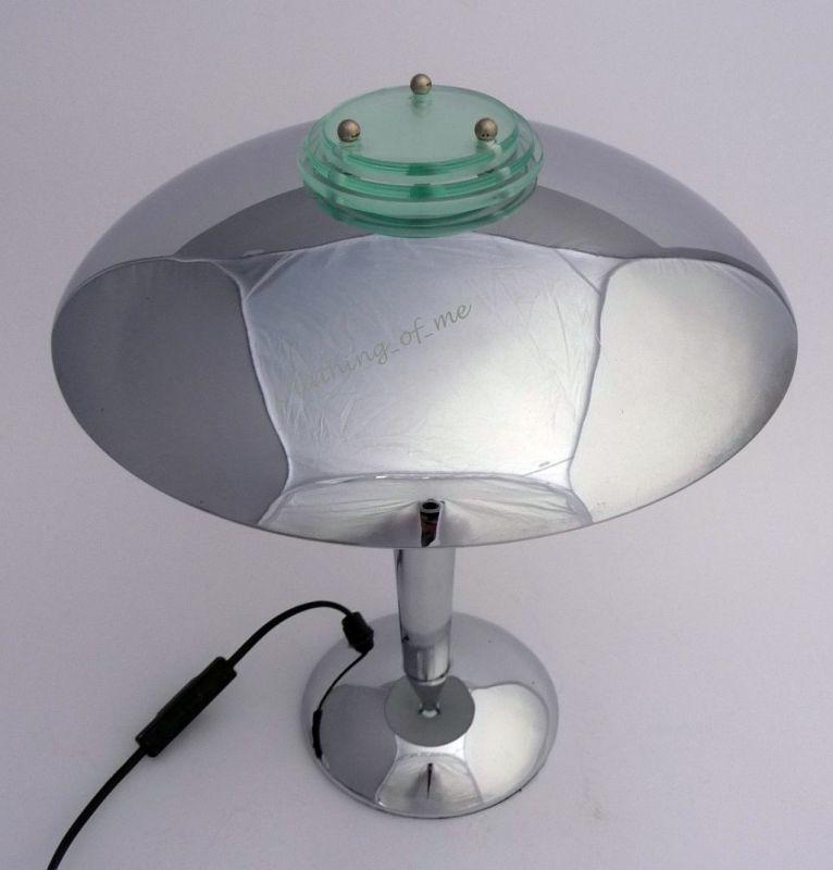 Design Tokyo Pilzlampe im Art Deco Stil Chrom 1