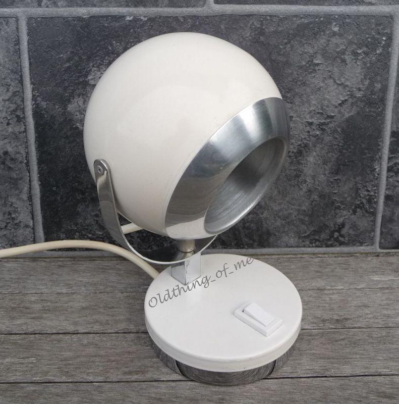 Kugellampe Tischlampe 70er weiß