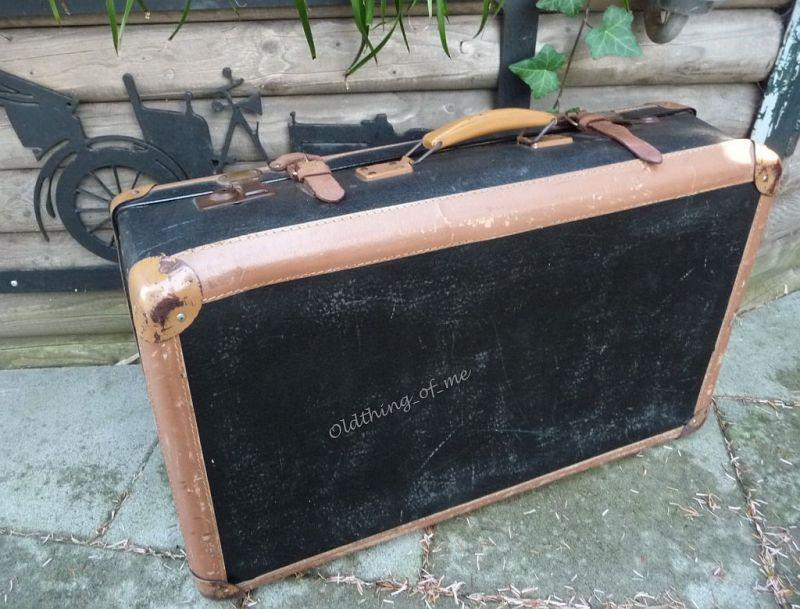 Schwarz kleiner Koffer shabby chic 70x40x20 1