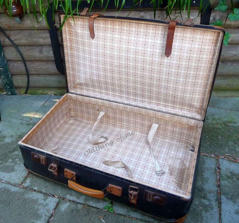 Schwarz kleiner Koffer shabby chic 70x40x20 3