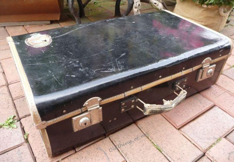 Schwarz kleiner Koffer shabby chic 65x38x20