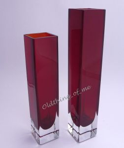 1 rote Solifleur Glasvase Blockvase Murano
