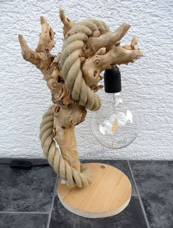 Tischlampe Seil Tau Treibholz LED Nr1