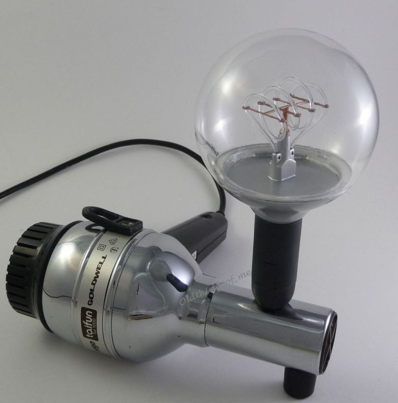 Tischlampe Fön Wigo Taifun GOLDWELL LED DIY Upcycling chrom schwarz 0