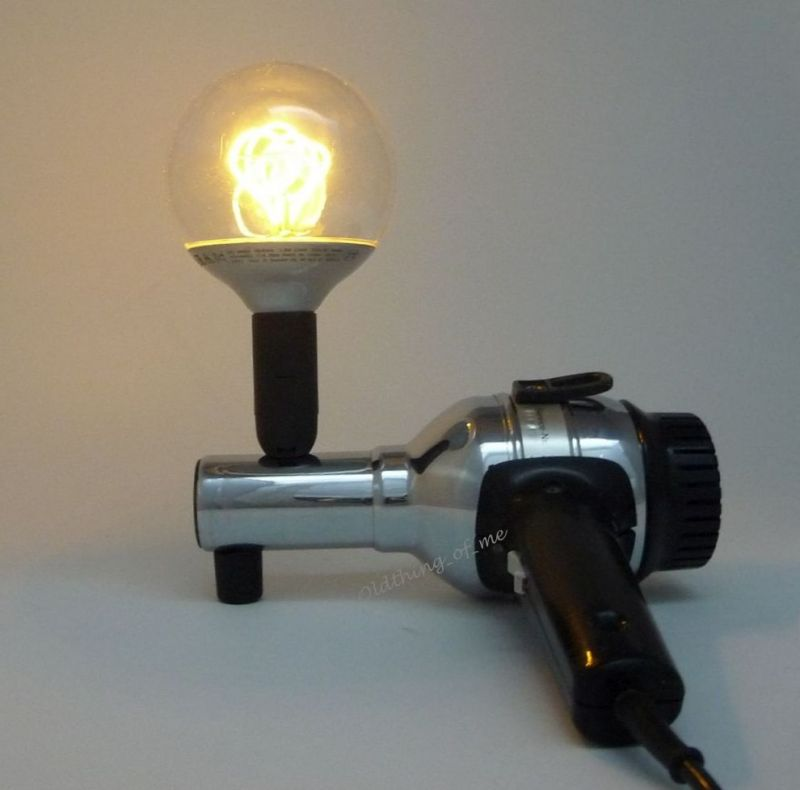 Tischlampe Fön Wigo Taifun GOLDWELL LED DIY Upcycling chrom schwarz 1
