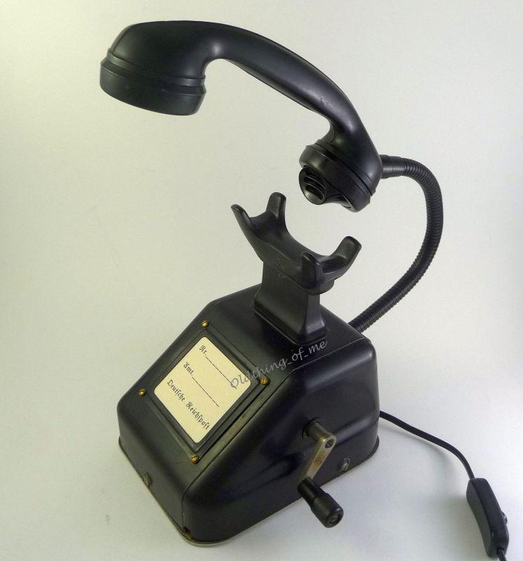 Altes Telefon OB33 als Tischlampe ( W48 W38 ) Streckentelefon, Kurbelinduktor