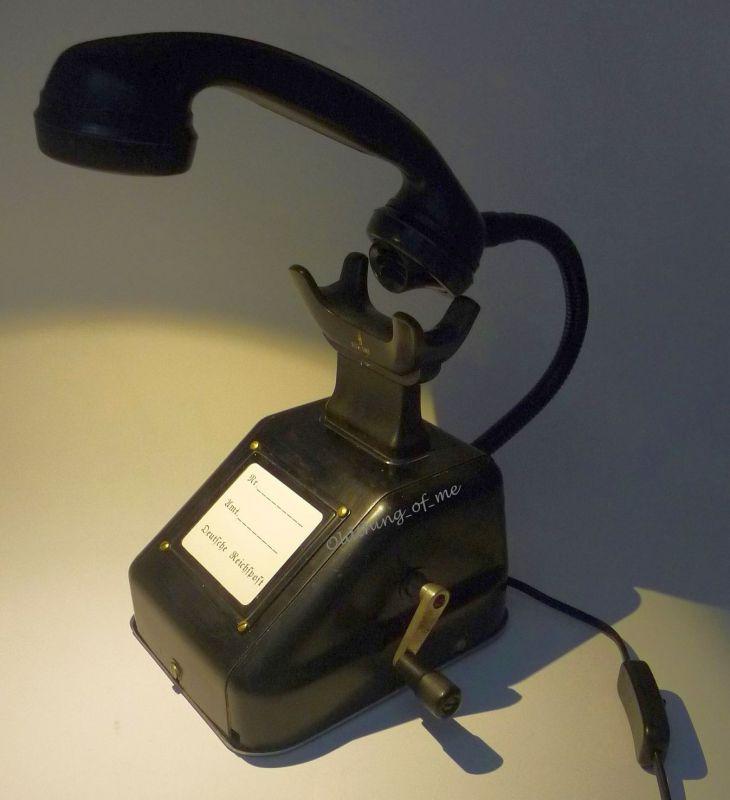 Altes Telefon OB33 als Tischlampe ( W48 W38 ) Streckentelefon, Kurbelinduktor  1
