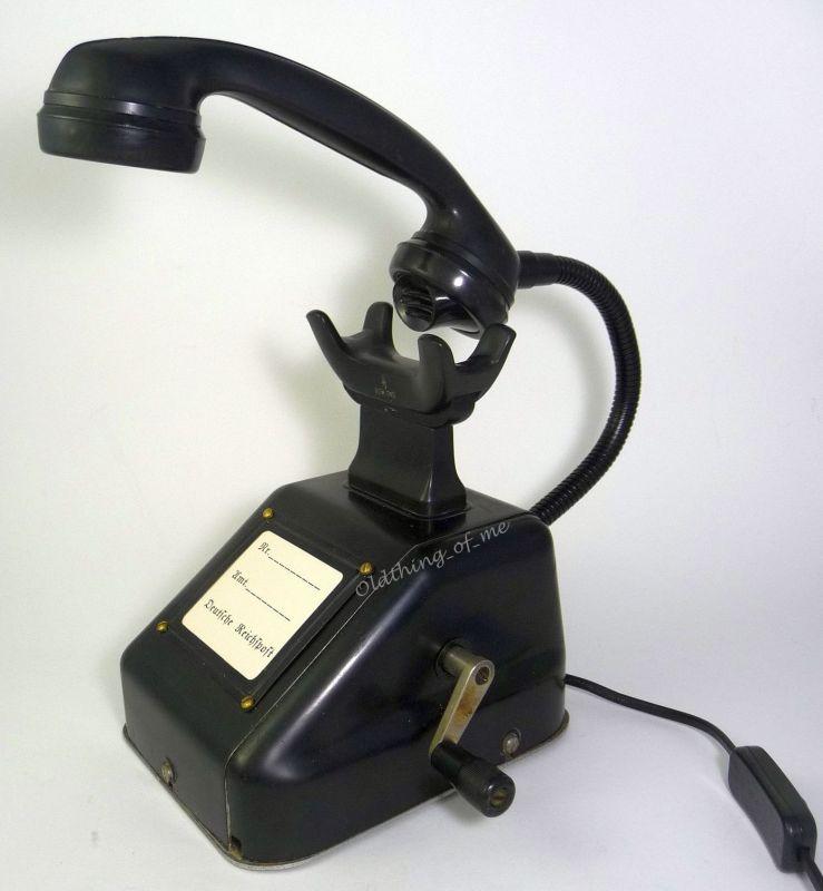 Altes Telefon OB33 als Tischlampe ( W48 W38 ) Streckentelefon, Kurbelinduktor  2