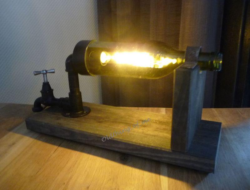 Steampunk Lampe in Glasflasche 2