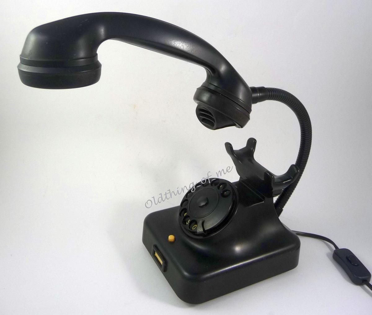Tischlampe schwarzes Bakalite Telefon mit Schwanenhals LED Technik Telefonlampe 0