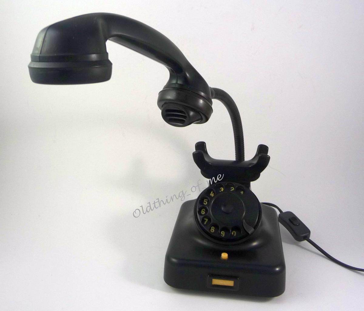 Tischlampe schwarzes Bakalite Telefon mit Schwanenhals LED Technik Telefonlampe 2