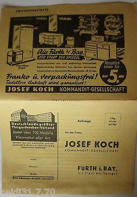 Werbung, Reklame, Josef Koch, Möbel Flurgarderoben Fürth in Bayern (28218)