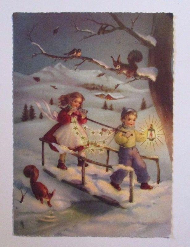 Weihnachten, Kinder, Eichhörnchen, Laterne, Sterne\
