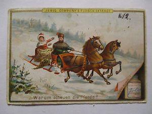 Liebig Sammelbild, Warum scheuen die Pferde, Winter Schlitten (17471) 0