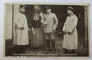 Oberstleutnant von Schwerin mit seiner Quartierswirtin, 4. Armee,1918 (5742) 0