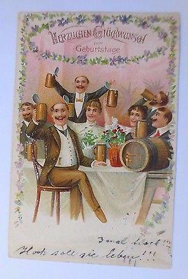 Geburtstag Frauen Manner Bierkrug Fass 1907 Pragekarte