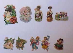 10 Oblaten, Kinder, Engel,  1900, im Schnitt  5 cm x 3 cm u. 2 cm x 3 cm ♥ (F14)