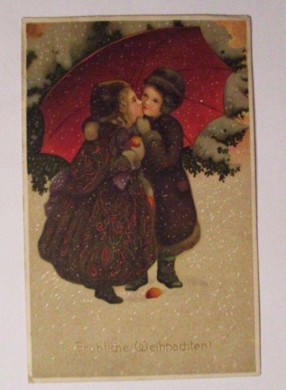 Weihnachten, Kinder, Schirm, Kuss\