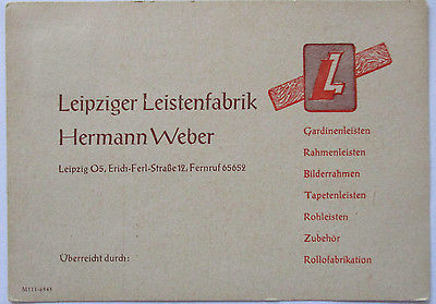 Reklame, Werbung, Leistenfabrik Leipzig, Gardinen, Tapeten usw. 1948 (14807)