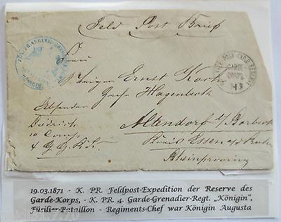 Krieg 1870-1871, Feldpost Reserve Garde Korps, Rgt. Königin (18761)