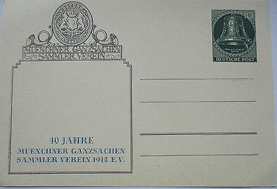 Berlin, Ganzsache 40 Jahre Münchener Ganzsachen Sammler Verein 1952 (49429)