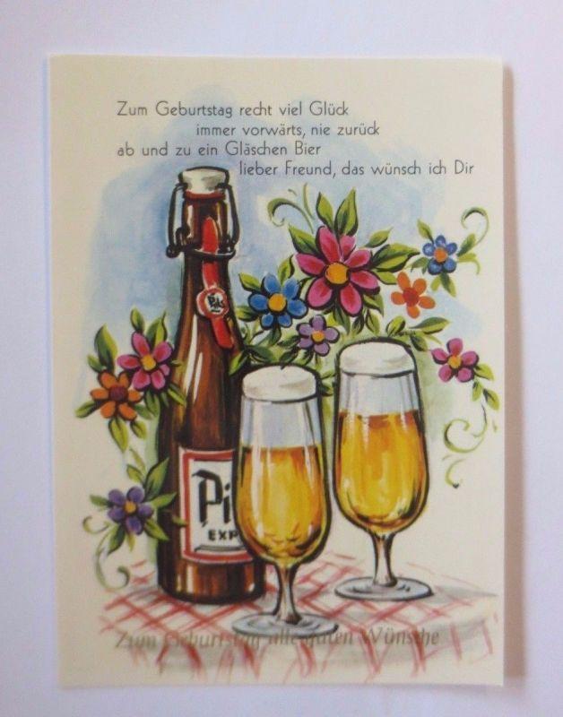 Geburtstag Bier Glas Flasche Blumen 1970 52222 Nr 52222