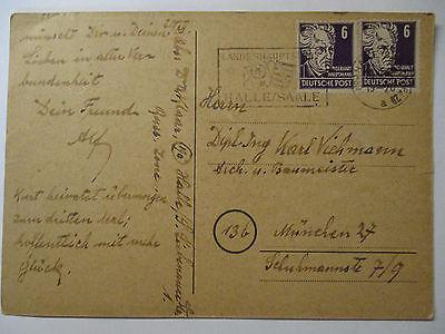 SBZ, Landeshauptstadt Halle, Saale, Neujahr-Karte (40647)