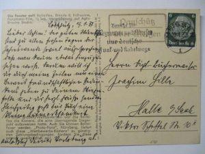 D.Reich, Landpoststempel Rauschütz über Meissen 1937 (9323)