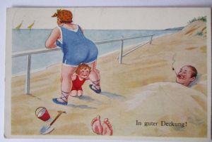 Baden, Schwimmen, Strand, Meer, In guter Deckung, ca. 60er Jahre (37924)