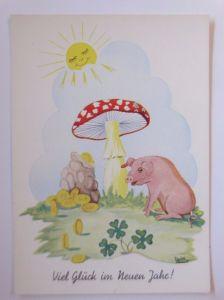 Neujahr, Pilze, Sonne, Münzen, Schwein, Kleeblatt 1950  (53175)