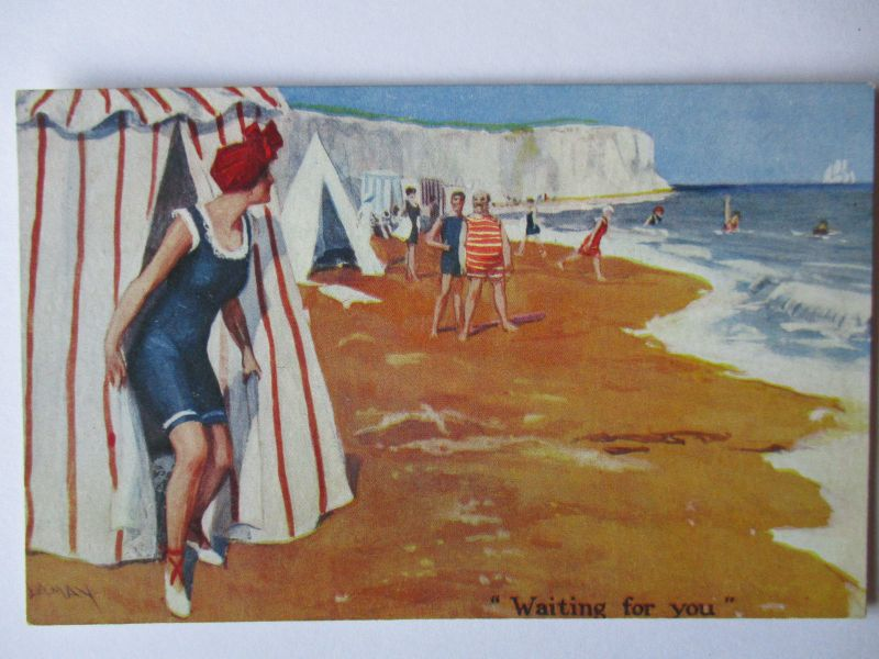 Meer, Strand, Baden, Bademode, Waiting for you, ca. 1920 (37811)