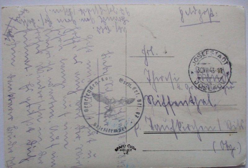 Böhmen und Mähren, Feldpost 1943 aus Josefstadt, AK Eisenbahn (36622)