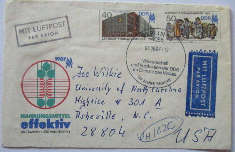 DDR, Ganzsache 1987 mit Luftpost in die USA (49732)