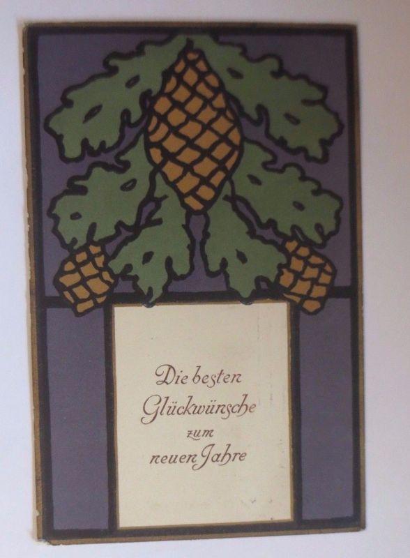 Neujahr, Tannenzapfen, Zweig    1912  ♥ (53616)