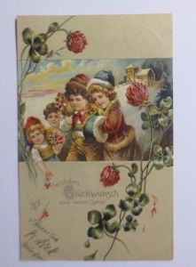 Neujahr, Blumen, Landschaft, Hufeisen, Vergissmeinnicht,1908, Prägekarte♥(50552)