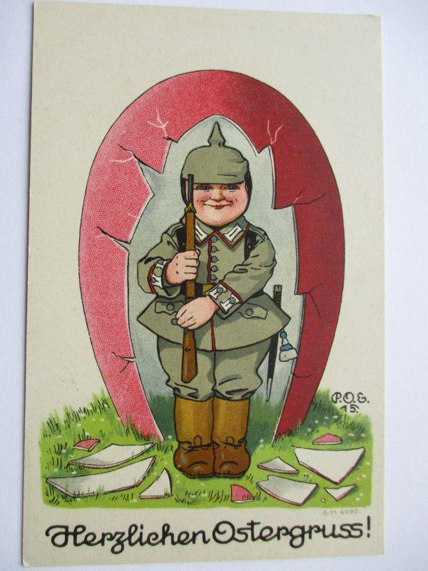 Kinder WW 1, Kind, Wache im Osterei, Feldpost 22. RD (41659)