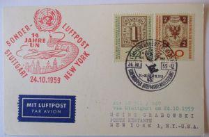 Flugpost, Sonder Luftpost 14 Jahre UN Stuttgart-New York 1959 (7631)