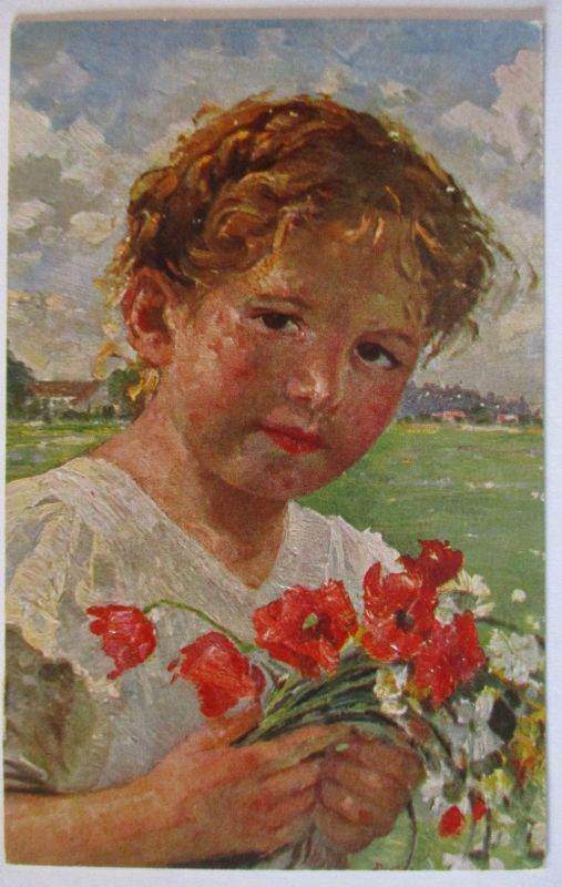 Künstlerkarte Robert Völcker, Kind, Die kleine Blumenfreundin (47477)