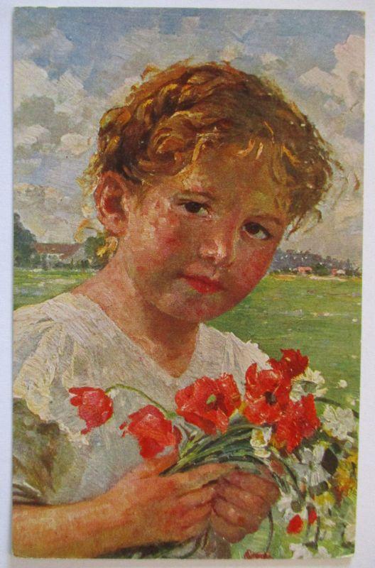 Künstlerkarte Robert Völcker, Kind, Die kleine Blumenfreundin (37398)
